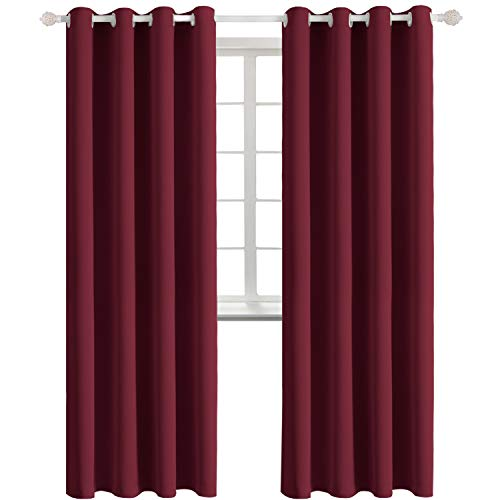 BGment Blackout Curtains - Grommet Thermal Insulated Room Darkening Bedroom and Living Room Curtains, Set of 2 Curtain Panels (52 x 84 Inch, Burgundy)