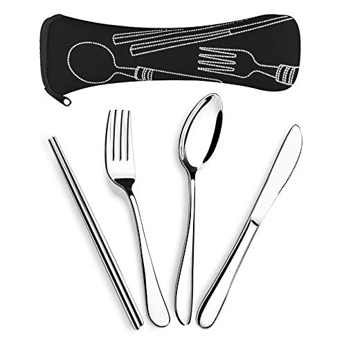 SUPERSUN 4 Pieces Reusable Traveling Utensils Travel, Knife Fork Spoon Chopsticks Set, Camping Cutlery Set with Neoprene Case, Lunch Flatware Set, Portable Utensils Silverware Set
