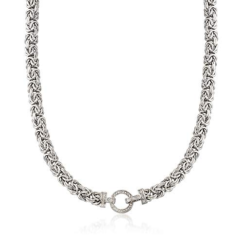 Ross-Simons 0.30 ct. t.w. Diamond and Sterling Silver Byzantine Necklace ()