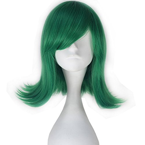 [Miss U Hair Girl Adult Synthetic Short Wavy Green Hair Anime Cosplay Costume Wig C282] (Short Green Wig)