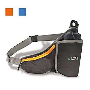 fitter's niche Fanny Pack Waist Pack with Water Bottle Holder, Waterproof Running Belt for Men Women,Fits IPhone X 8Plus Galaxy S8 Note 8,Reflective Hydration Belt for Running Hiking Travelling Bag