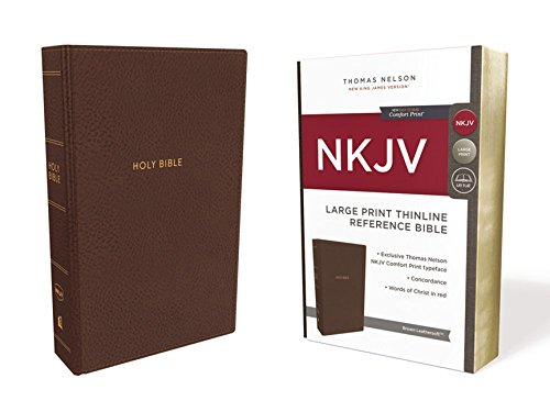 NKJV, Thinline Reference Bible, Large Print, Imitation Leather, Brown, Red Letter Edition, Comfort Print