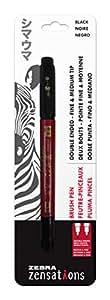 Zebra Zensations Brush Pen, Double Ended, Medium and Fine Brush Tip, Black, Water-Resistant Ink, 1-Count