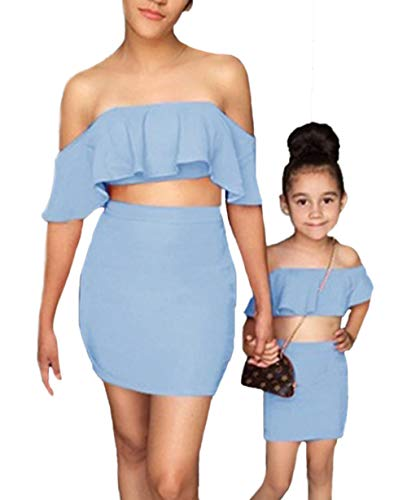 Mommy and Me Dresses Family Matching Women Girl Outfits Off Shoulder Ruffle Crop Tops and Pencil Skirt Set Blue (Matching Crop Top And Pencil Skirt Set)