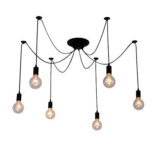 OYI Multiple Pendant Lighting Chandelier, 6 Lights Industrial Spider Style Ceiling Lamp Light Ajustable DIY Hanging Chandelier Light Fixture E26 Socket