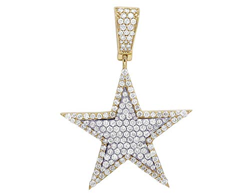 (10k Multi-Tone Gold Real Round Cut Diamond Cluster Star Shape Pendant Without Chain)