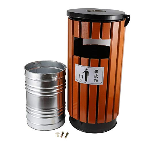 BEAMNOVA Trash Can Outdoor Garbage Enclosure with Locking Lid Ashtray Open Top Inside Cabinet Stainless Steel Industrial Waste Container, Cylinder