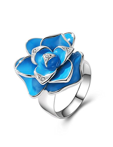 XZP Fashion Blue Statement Ring for Women Swarovski Elements Large Flower Rings Gift Jewelry (Size 7.5) ()