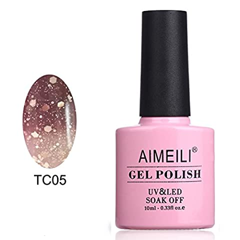 AIMEILI Soak Off UV LED Temperature Color Changing Chameleon Gel Nail Polish - Chocolate Spark (Gel Fibra)