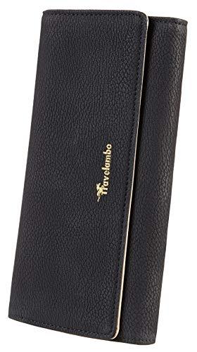 Travelambo Womens Wallet Faux Leather RFID Blocking Purse Credit Card Clutch (Black 401)
