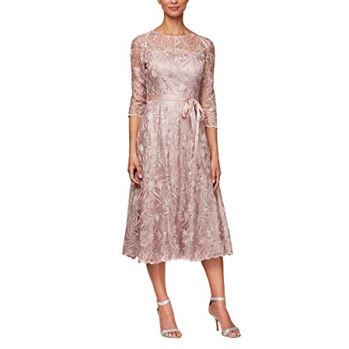 Alex Evenings Women's Tea Length Embroidered Dress with Illusion Sleeves, Rose, 6