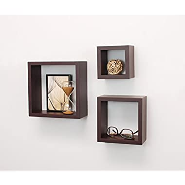 nexxt Cubbi Contemporary Floating Wall Shelves, 5 by 5 Inch , 7 by 7 Inch , 9 by 9 Inch , Espresso, Set of 3