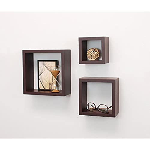 Kiera Grace Cubbi Contemporary Floating Wall Shelves, 5 by 5-Inch, 7 by  7-Inch, 9 by 9-Inch, Espresso, Set of 3