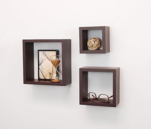 Contemporary 5 Shelf - Kiera Grace Cubbi Contemporary Floating Wall Shelves, 5 by 5-Inch, 7 by 7-Inch, 9 by 9-Inch, Espresso, Set of 3