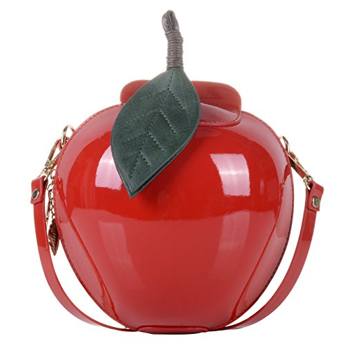 Red Apple Purse - Women's PU Small Cute Apple Shape Handbag PU Leather Purse Shoulder Bag Clutch Red