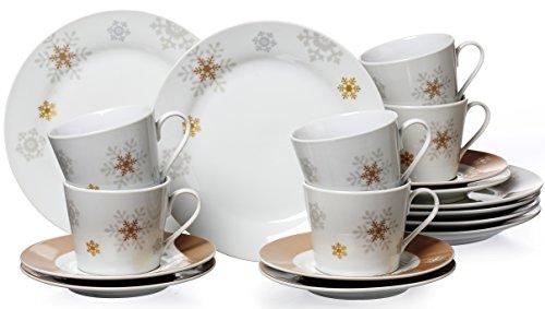 Ritzenhoff & Breker 015942 Kaffeeservice Schneeflocke, 18-teilig