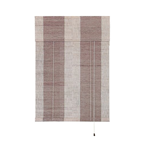 "Liveinu Handmade 100% Ramie Linen Window Blinds Roller Shades Curtain Drape Stripe Pattern Brown 27"" x 82"""