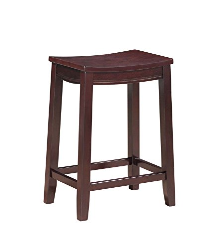 OKSLO Aubree counter saddle stool, espresso, 24 inch seat height