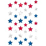 "Amscan Red White and Blue Fourth of July Party Patriotic Stars Doorway Curtain Decoration, foil, 7"", Pack of 6"