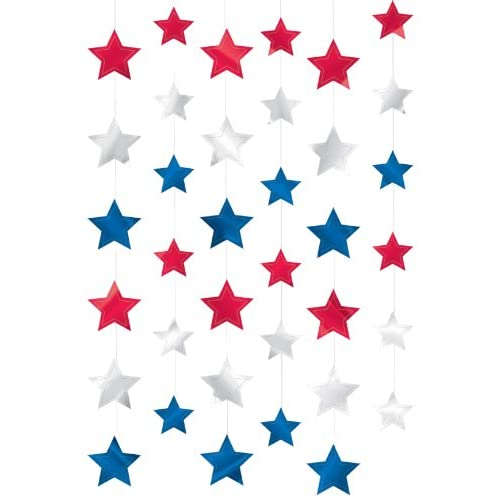 """Discount Amscan Red White and Blue Fourth of July Party Patriotic Stars Doorway Curtain Decoration, foil, 7"""", Pack of 6 hot sale"""