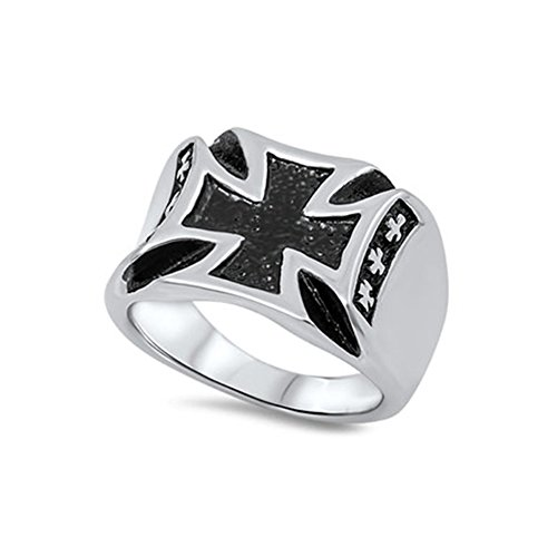 Noureda Stainless Steel Modish Maltese Cross Design with Black Inlay Ring, Face Height of 16MM by Noureda (Image #1)'
