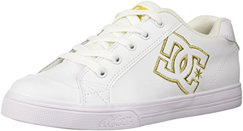 sea SE Skate Shoe, White/Gold, 3 M US Little Kid (Dc Girls Shoes)