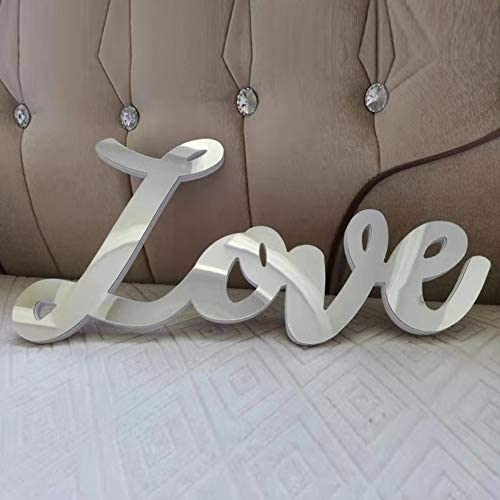 meetart Mirror Love Letter Word Decorative Sign Décor For Home Wall Decoration, Organic Plastic Mirror Material, 2 Pieces Pack.