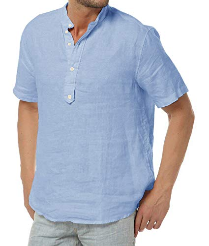 PASLTER Men's Cotton Linen Summer Casual Short Sleeve Henley Shirts Funny Golf Collarless Shirts for Men Five-Button Closing Columbia ()