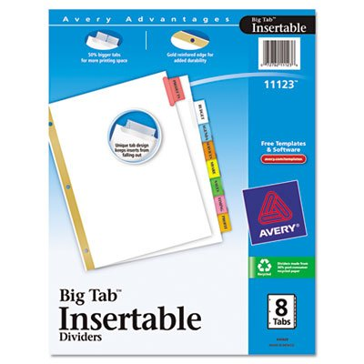 WorkSaver Big Tab Dividers, Multicolor Tabs, 8-Tab, Letter, White, 1 Set, Total 36 ST, Sold as 1 Carton by Avery