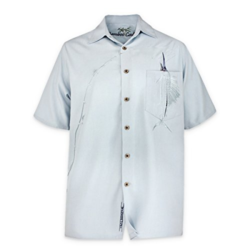 (Bamboo Cay Men's Shake The Hook Tropical Style Embroidered Camp Shirt, Small, Chalk Blue)