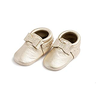 Freshly Picked - Rubber Mini Sole Leather Bow Moccasins - Toddler Girl Shoes - Size 6 Platinum Gold