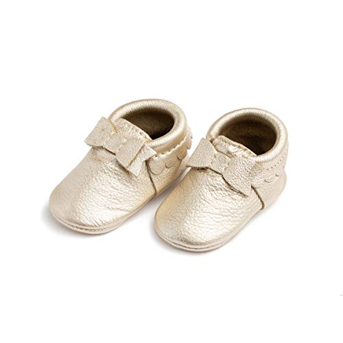 Freshly Picked - Soft Sole Leather Bow Moccasins - Baby Girl Shoes - Size 4 Platinum Gold (Picked Freshly)