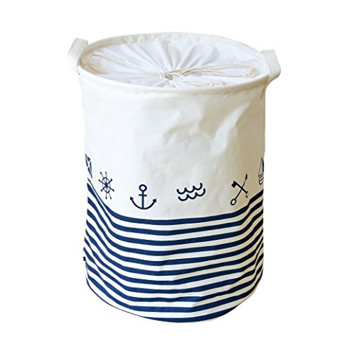 LEELI Clothes Hamper with Lid,Cotton Canvas laundry hamper with Handles-Toy Basket Organizer Kids Storage Bins for Clothes(stripe&anchor) by LEELI