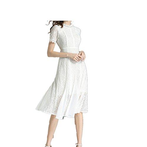 (Summer Women's Dress Lace Chiffon Splicing Large Dress)