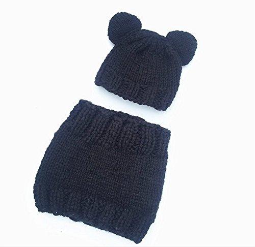 Da.Wa Cute Cat Ears Hat Winter Artificial Wool Knitting Cap Soft Warm Collar Scarf Shawl Set for Kids