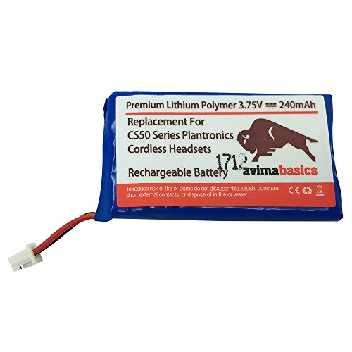 AvimaBasics Replacement Rechargeable Battery for Plantronics CS50 CS50-USB CS55 CS55H CS60-USB CS351 Avaya AWH-55 Replaces Plantronics 64327-01 64399-01 64399-03 65358-01