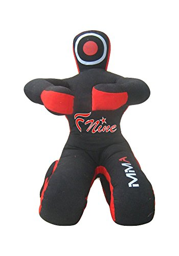 (FNine MMA Dummy, Judo Grappling Dummy Sitting Position UNFILLED Punching Bag Canvas (Black Canvas, 70.00))