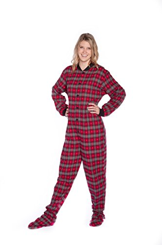 [Red/Grey Plaid Flannel w/ Hearts Adult Footed Pajamas w/Drop-Seat (XL)] (Adult Footy Pajamas)