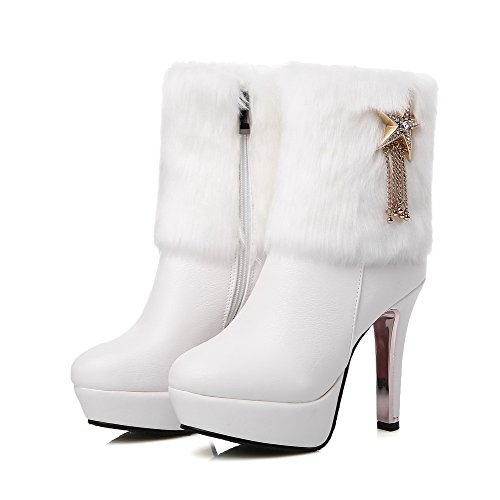 Low Heels Solid Women's Boots White Soft Material Closed Toe Round WeiPoot top High A1qwC4n