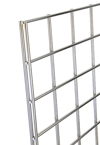 KC Store Fixtures A04209 Gridwall Panel, 2' W x 4' H, Chrome (Pack of 4)