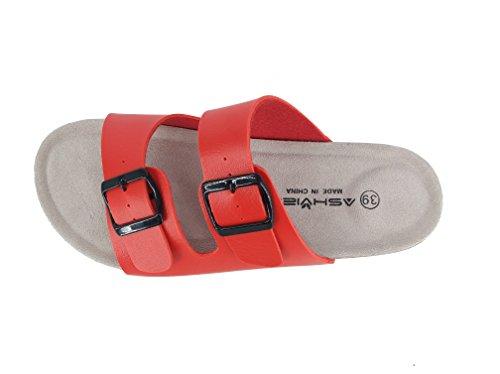 Ashviee Slide Sandaler Korkfotbädd Tillfälliga Sandaler Röda