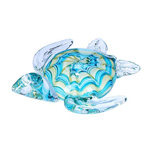 Qf Hangmade Glass Figurine Blown Sea Turtle, Glass Sculpture, Home Decor, Birthdat Present ()