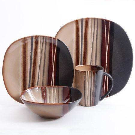 Better Homes and Gardens Bazaar Brown 16-Piece Dinnerware Set, Ceramic , Stone