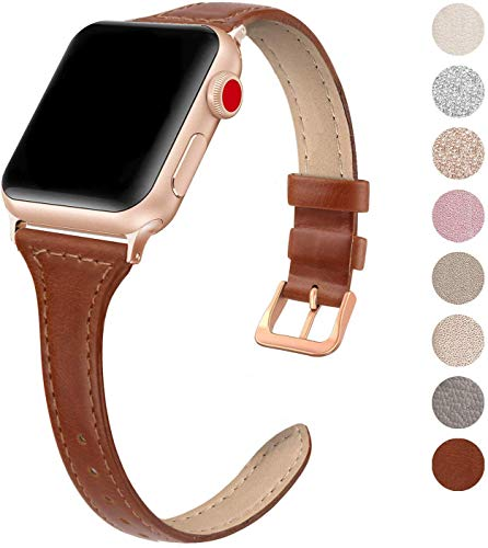 SWEES Leather Band Compatible for Apple Watch iWatch 38mm 40mm, Slim Thin Dressy Genuine Leather Strap Compatible iWatch Series 5 Series 4 Series 3 Series 2 Series 1 Sport Edition, Cognac Brown