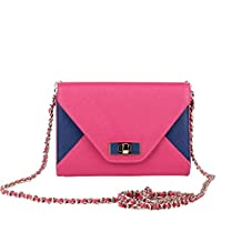 Banuce Color Block Chains Cross Body Bag, Ladies, Leather