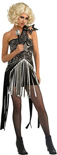 Rubies Womens Lady Gaga Black Dress With Silver Sequin Star Design Costume, XS (2-6)