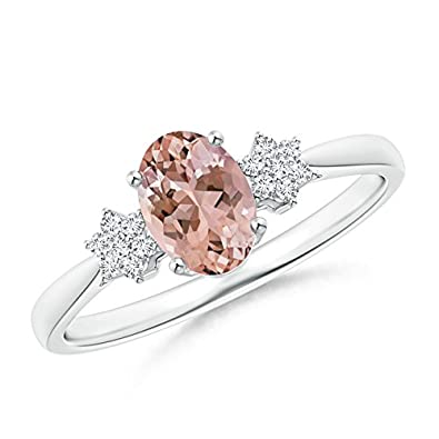 Angara Tapered Oval Morganite Solitaire Ring with Diamond Clusters Pfdjng