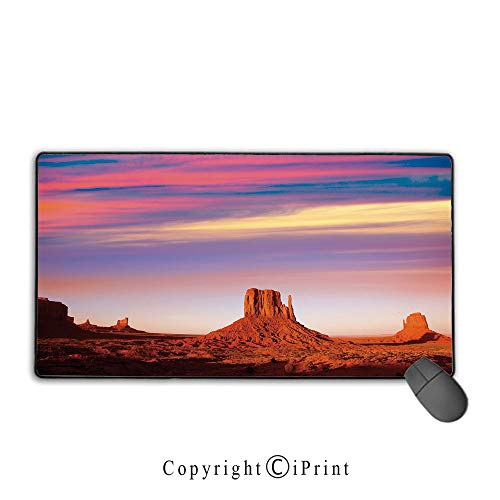 Game speed version medium cloth mouse pad,United States,Monument Valley West Mitten and Merrick Butte Sunset Utah Desert,Dark Orange Pink Blue, Non-slip rubber base Mouse pad with lock,15.8