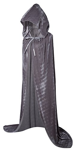 VGLOOK Full Length Hooded Cloak Long Velvet Cape for Christmas Halloween Cosplay Costumes 59inch Grey]()
