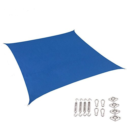 Outhere 10'X10' Waterproof Sun Shade Sail Square with Stainless Steel Hardware Kit - Durable Outdoor Canopy UV Shelter for Patio Lawn - Blue Color